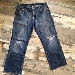 Lucky brand men's raw hem distressed jeans size 34